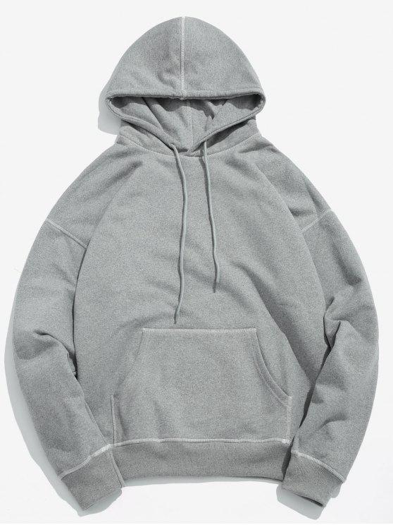 Costuras planas de contraste com capuz - Cinzento de Nublado M