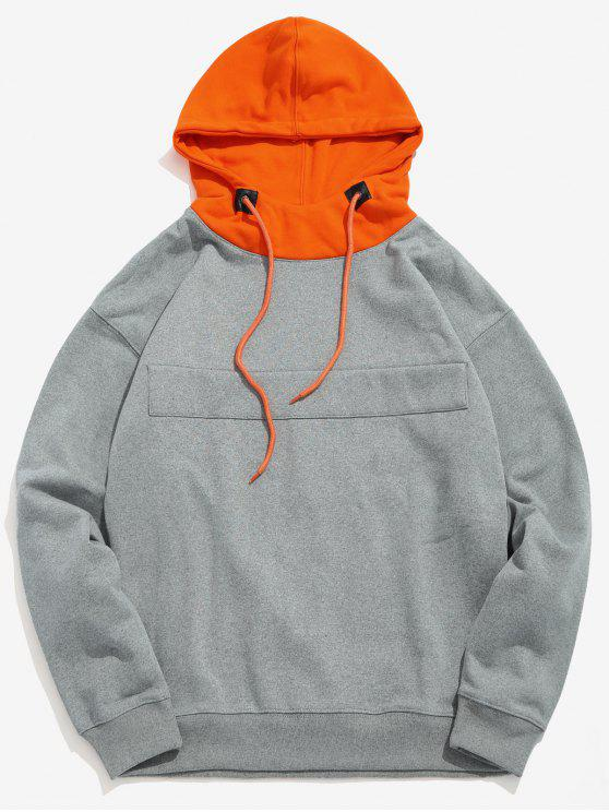 trendy Color Block Patch Fleece Hoodie - CLOUDY GRAY S