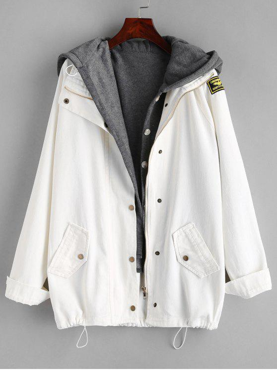 buy Button Up Denim Jacket and Hooded Vest - WHITE 2XL