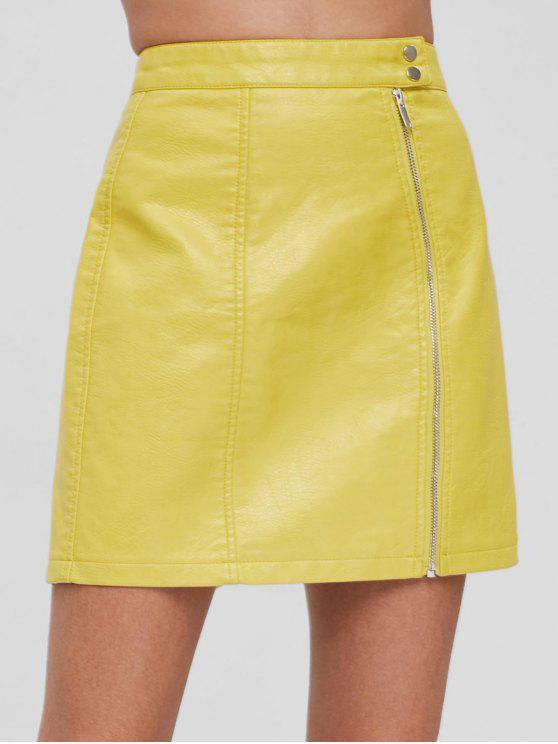 e5b59bca2 31% OFF] 2019 Zip Front Faux Leather Skirt In YELLOW | ZAFUL