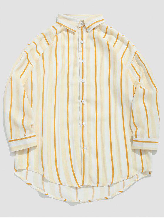 Camicia Casuale Con Stampa A Righe - Gialllo Ape M