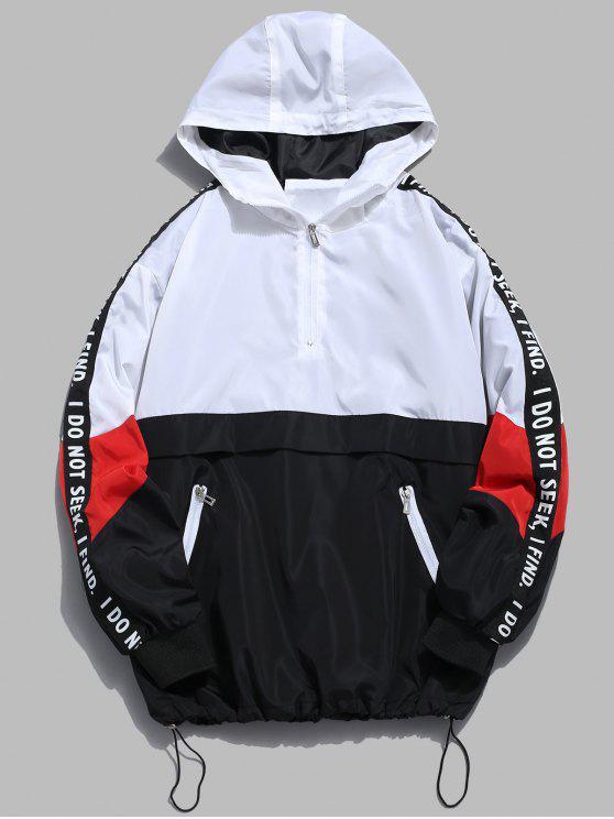 Sweat-Shirt à Capuche Rayé avec Inscription et Demi-Fermeture Éclair en Dégradé de Couleurs - Blanc L
