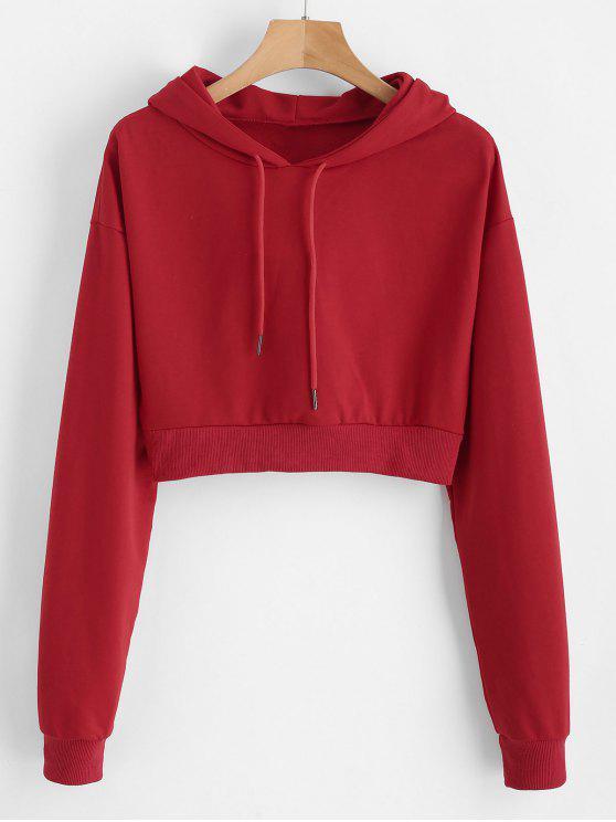 sale Drawstring Drop Shoulder Crop Hoodie - CHERRY RED ONE SIZE