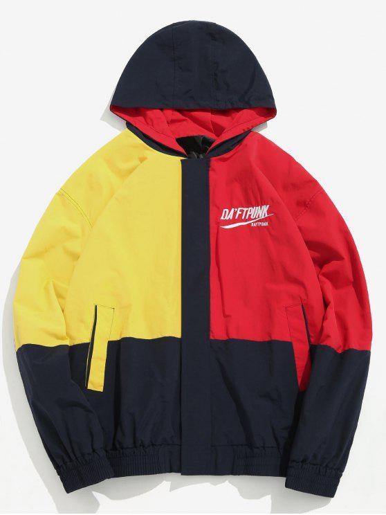 women Color Block Letter Quick Dry Jacket - MULTI-A L