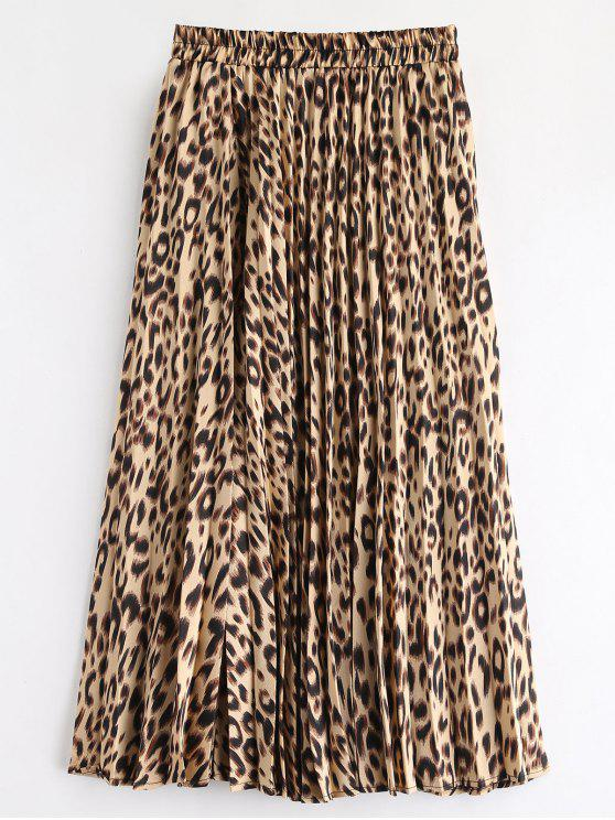 new Leopard Pleated Skirt - LEOPARD ONE SIZE