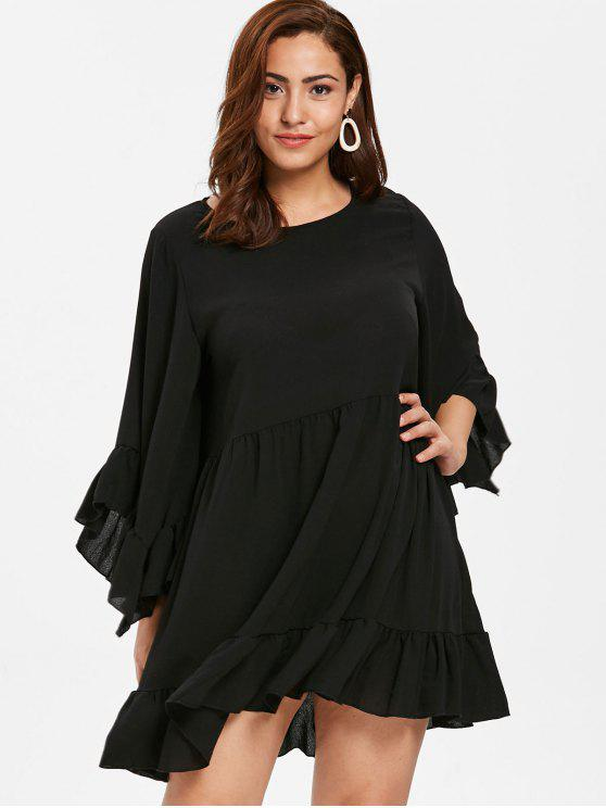 4fa65e8b2e6 34% OFF  2019 ZAFUL Plus Size Ruffled Flounce Dress In BLACK