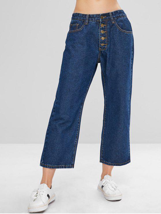 fancy ZAFUL Wide Leg Button Fly Jeans - DENIM DARK BLUE M