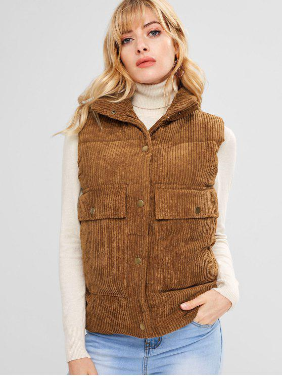 online Padded Pocket Corduroy Waistcoat - LIGHT BROWN XL
