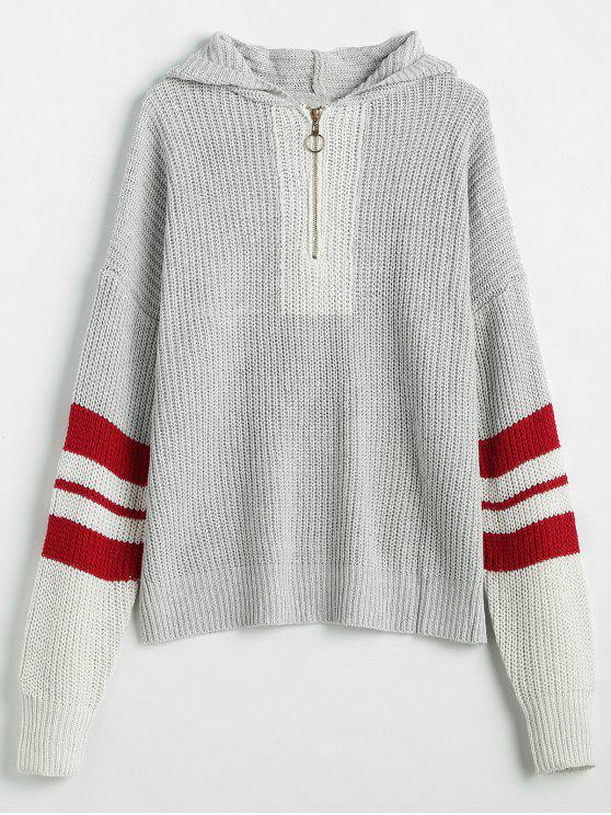 hot Zip Front Stripes Hooded Sweater - LIGHT GRAY L