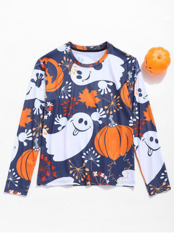 latest Halloween Ghost Pumpkin Print Tee - MULTI M