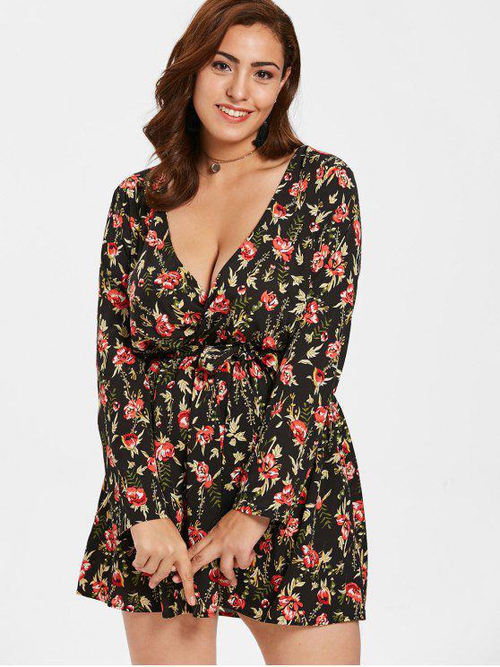 Zaful Plus Size Floral Mini vestido com cinto - Preto 4X