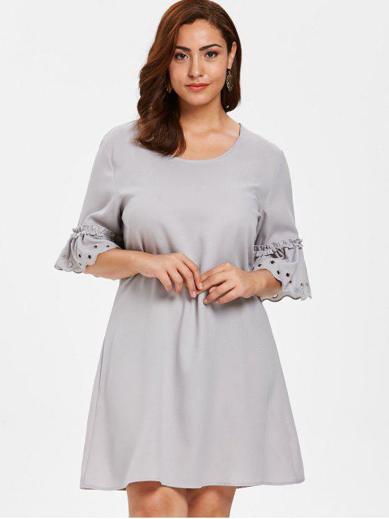 ZAFUL Plus Size Eyelet Flare Sleeve Dress PLATINUM