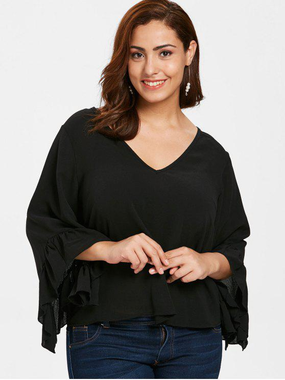 outfits ZAFUL Plus Size Ruffled Bell Sleeve Blouse - BLACK 3X