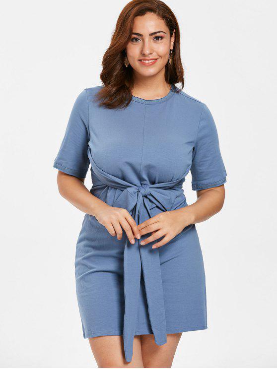 ZAFUL Plus Size Knotted Shift Dress BLUE GRAY