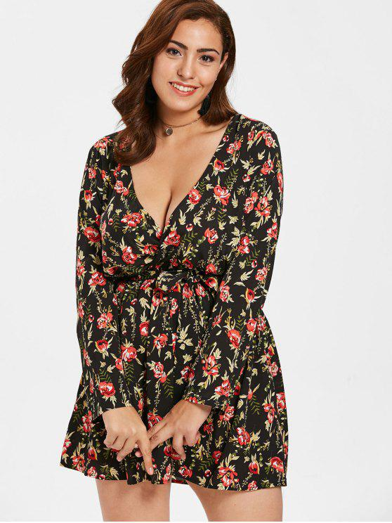 ZAFUL Plus Size Floral Belted Mini Dress BLACK