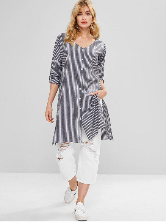 womens Striped Side Slit Tunic Top - BATTLESHIP GRAY M