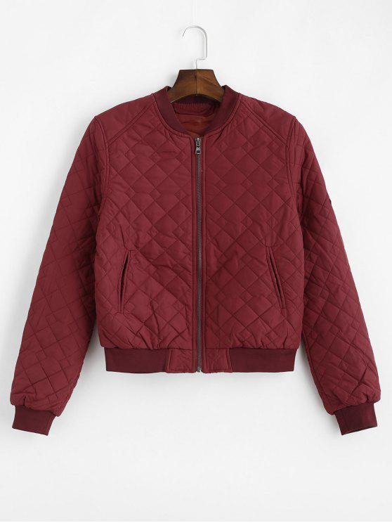 best Badge Patched Bomber Jacket - RED WINE M