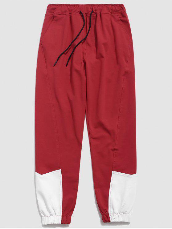 fancy Contrast Color Drawstring Waist Pants - LAVA RED M