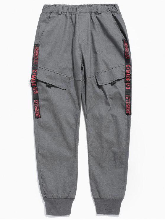 outfits Pocket Design Letter Print Pants - DARK GRAY M