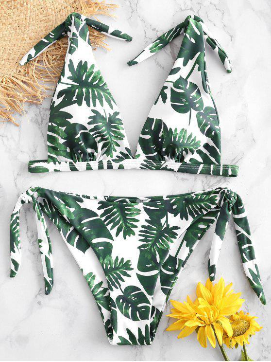 sale ZAFUL Palm Tie Shoulder Bikini Set - WHITE S