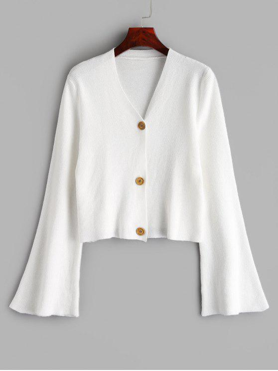 best Button Up Flare Sleeves Cardigan - WHITE ONE SIZE