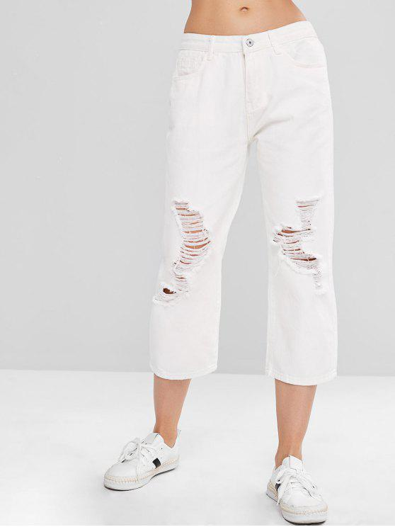 Zaful perna larga rasgou jeans - Branco XL