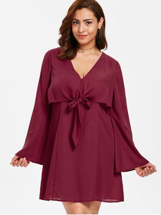 ZAFUL زائد الحجم التعادل الجبهة ميني اللباس - نبيذ احمر 3X