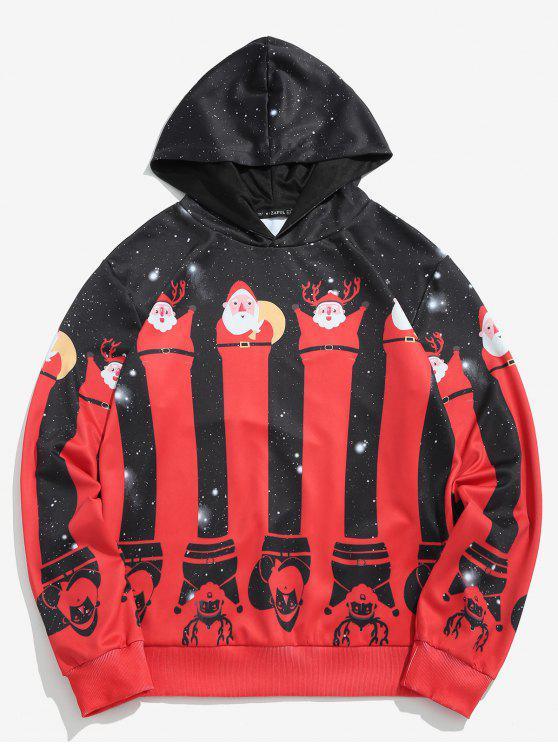 sale ZAFUL Christmas Santa Socks Printed Hoodie - BLACK S