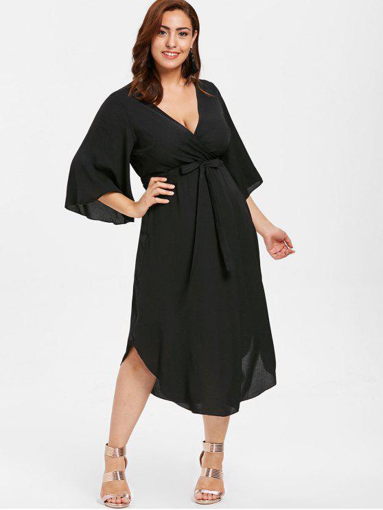 ZAFUL بالاضافة الى حجم الرباط اللباس الكشكشة - أسود 4X
