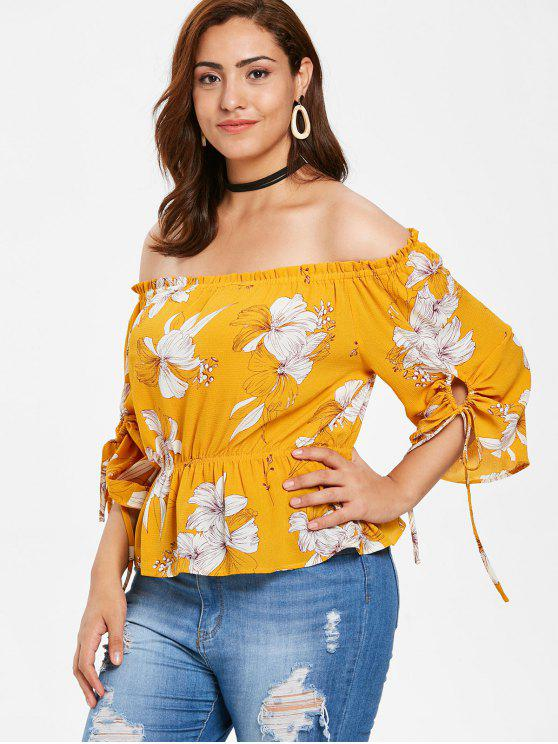 ZAFUL Plus tamanho Floral contornou a blusa - Abelha Amarela 2X