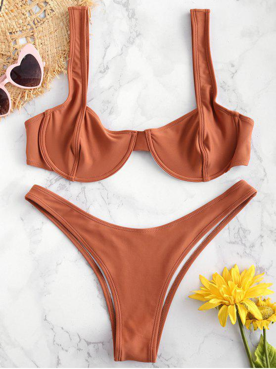 buy ZAFUL Underwire Balconette Bikini Set - BROWN M