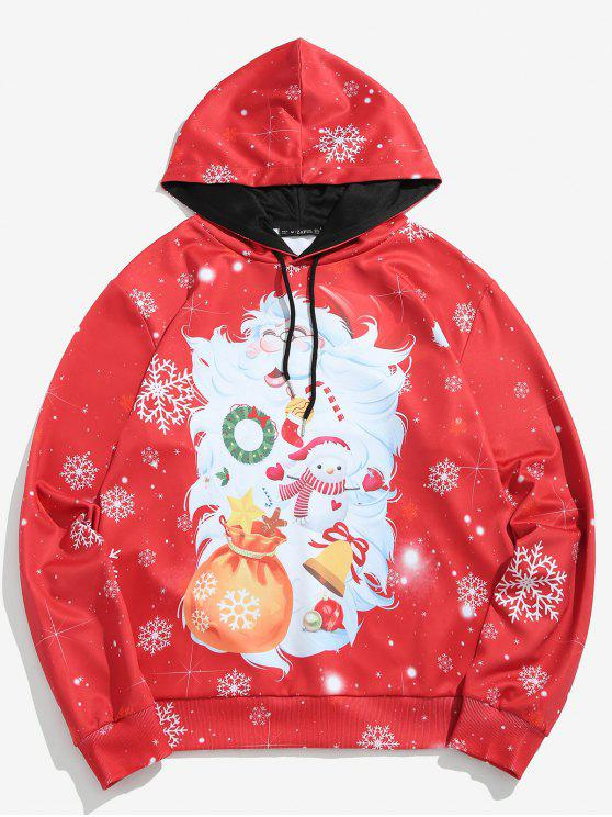 affordable ZAFUL Santa Claus Print Pullover Hoodie - LAVA RED XL