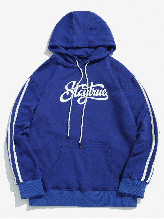 new ZAFUL Chest Letter Side Striped Hoodie - BLUEBERRY BLUE L