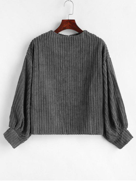 shops Balloon Sleeve Corduroy Top - GRAY ONE SIZE