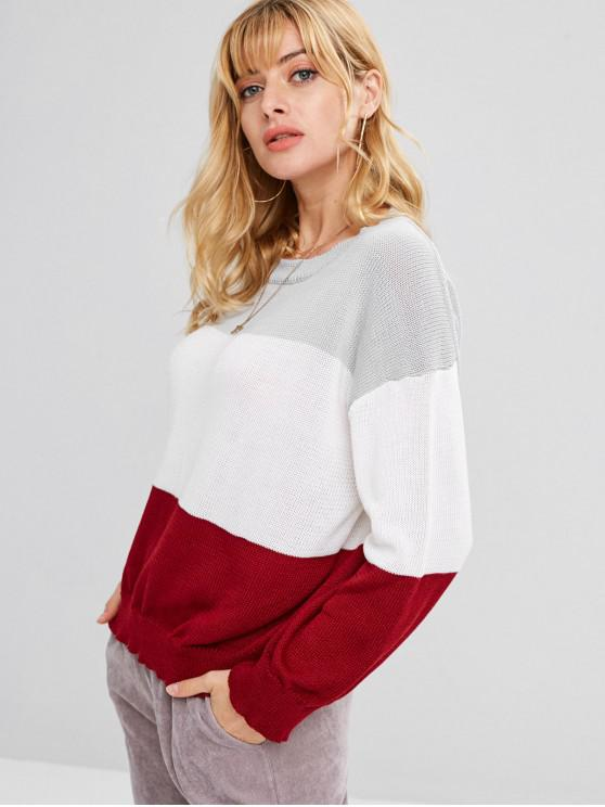 Suéter Loose Pullover Color Block - Multicolor Talla única