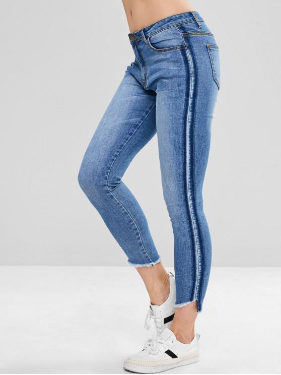 womens ZAFUL Skinny Frayed Hem Pencil Jeans - DENIM BLUE S
