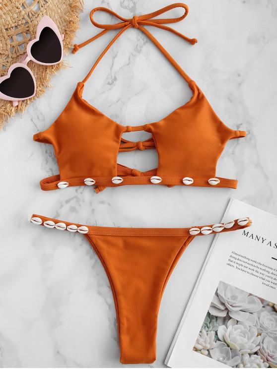 unique ZAFUL Shell Cutout Halter Bikini Set - SANDY BROWN S