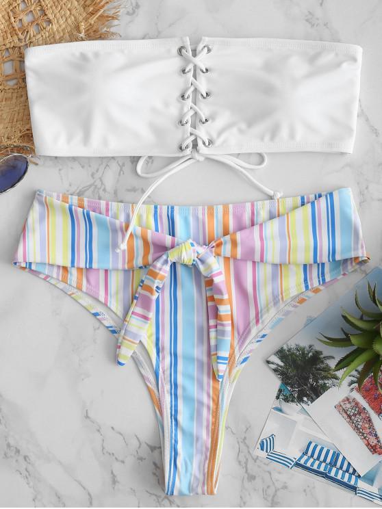 Bikini de Bandeau con Cordones de Rayas ZAFUL - Multicolor S