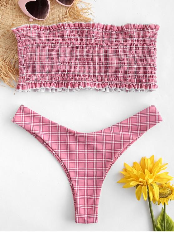 ea94a6a3091 26% OFF] 2019 ZAFUL Checked Frilled Smocked Bikini Set In PINK ROSE ...