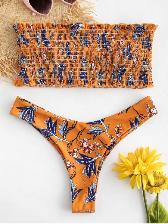3aaf3afa0a3 26% OFF  2019 ZAFUL Plant Print Shirred Bandeau Bikini Set In BEE ...