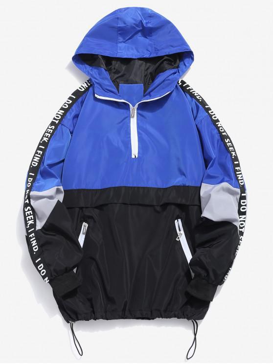 trendy Contrast Half Zip Graphic Striped Hoodie - BLUE XL
