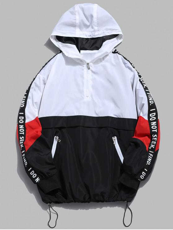 new Contrast Half Zip Graphic Striped Hoodie - WHITE 2XL