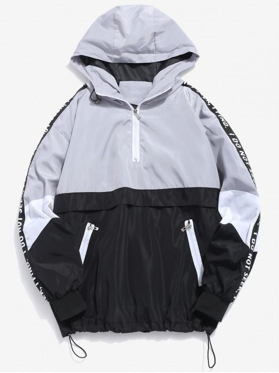 outfits Contrast Half Zip Graphic Striped Hoodie - GRAY CLOUD M