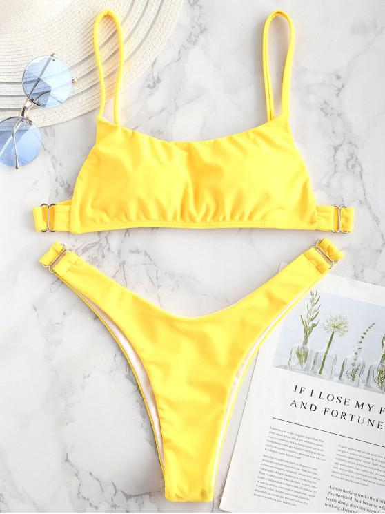 a2f63111440ffe 20% OFF  2019 ZAFUL Metallic Hardware Bralette Bikini Set In YELLOW ...