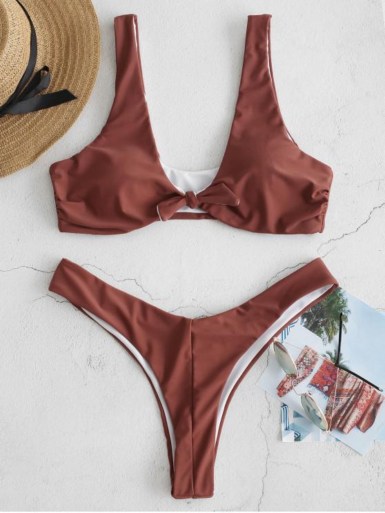 sale ZAFUL Knotted Plunging High Leg Bikini Set - LIPSTICK PINK S