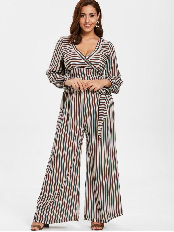 hot ZAFUL Plus Size Striped Belted Pants Set - MULTI L