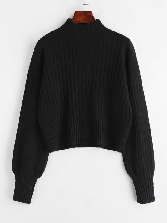 buy Dropped Shoulder Mock Neck Sweater - BLACK ONE SIZE
