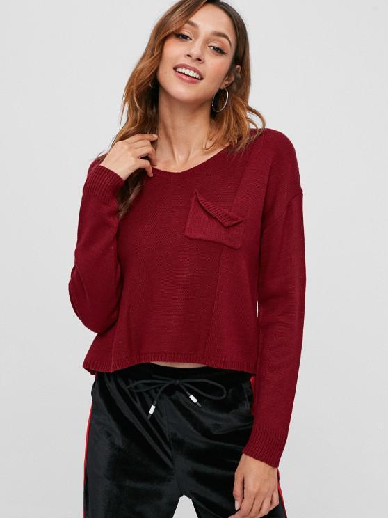 V-Ausschnitt Hoch Niedriger Pullover - Kirschrot Eine Größe