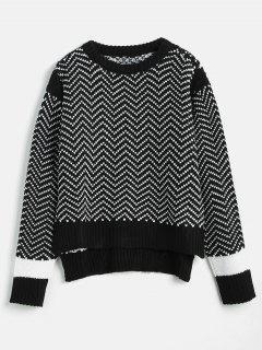 Asymmetric Striped Slit Sweater - Black S