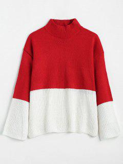 Mock Neck Two Tone Knit Sweater - Red S
